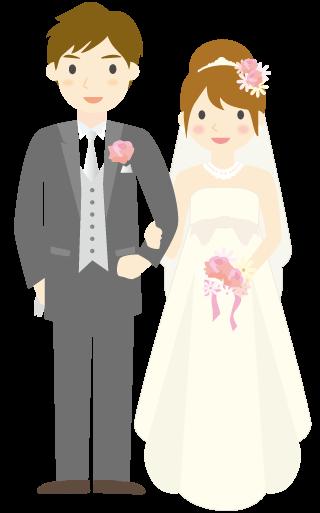 結婚へとゴールインした2人のイラスト
